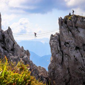 Nassfeld - der Däumling-Klettersteig am Gartnerkofel mit einer seiner Seilbrücken